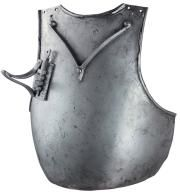 "finely constructed Knightly breast-plate, in the Italian style of circa 1410 Of globose form, with shallow neck and arm-openings with narrow outward turned edges, static large lance-rest on the right-hand side, and riveted V-shaped ""lisière d'arrêt"" on the upper part. H.: 40.5 cm - W.: 36 cm - Wt.: 5470 g. Only one authentic example is of this type of breast-plate is recorded in a public collection; this being the example preserved in the armoury of the Counts von Trapp at Churburg castle."