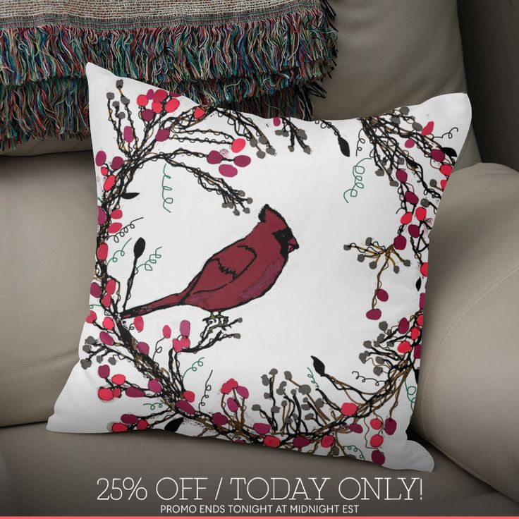 Discover «Winter Wreath and Cardinal», Exclusive Edition Throw Pillow by Deb Quigg - From $29.5 - Curioos