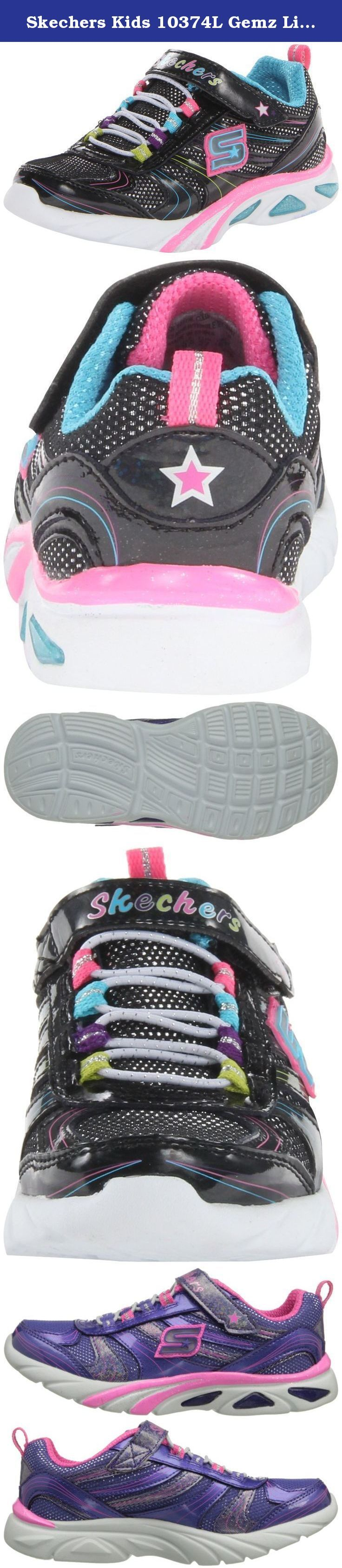 Skechers Kids 10374L Gemz Light-Up Sneaker (Little Kid). Girl's Skechers, S Lights Light Gemz Slip on Athletics Let her love this sporty style with fun lights and sparkling details! Leather, fabric and manmade upper with logo and glitter overlays for added appeal Skechers logo and midsole features lights that blink with every step Bungee lace up panel with adjustable hook and loop closure for an easy on and off Soft fabric lining with a cushioned footbed for added comfort Shock absorbing...