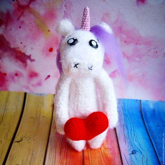 Toy Miniatures handmade. Livemaster - handmade. Buy Unicorn in love.Unicorn, gift, white, March 8, yarn iris