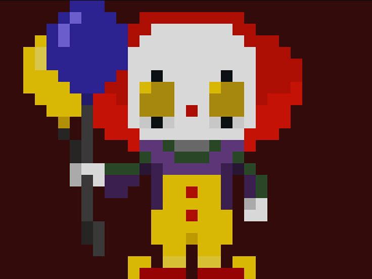 "Famous Characters in Pixel Art ""Halloween Special"": Pennywise the Dancing Clown 