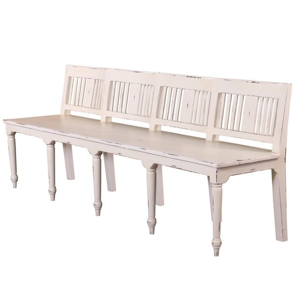 Somette Hand-Crafted Weathered White 7 foot Counter Height Bench