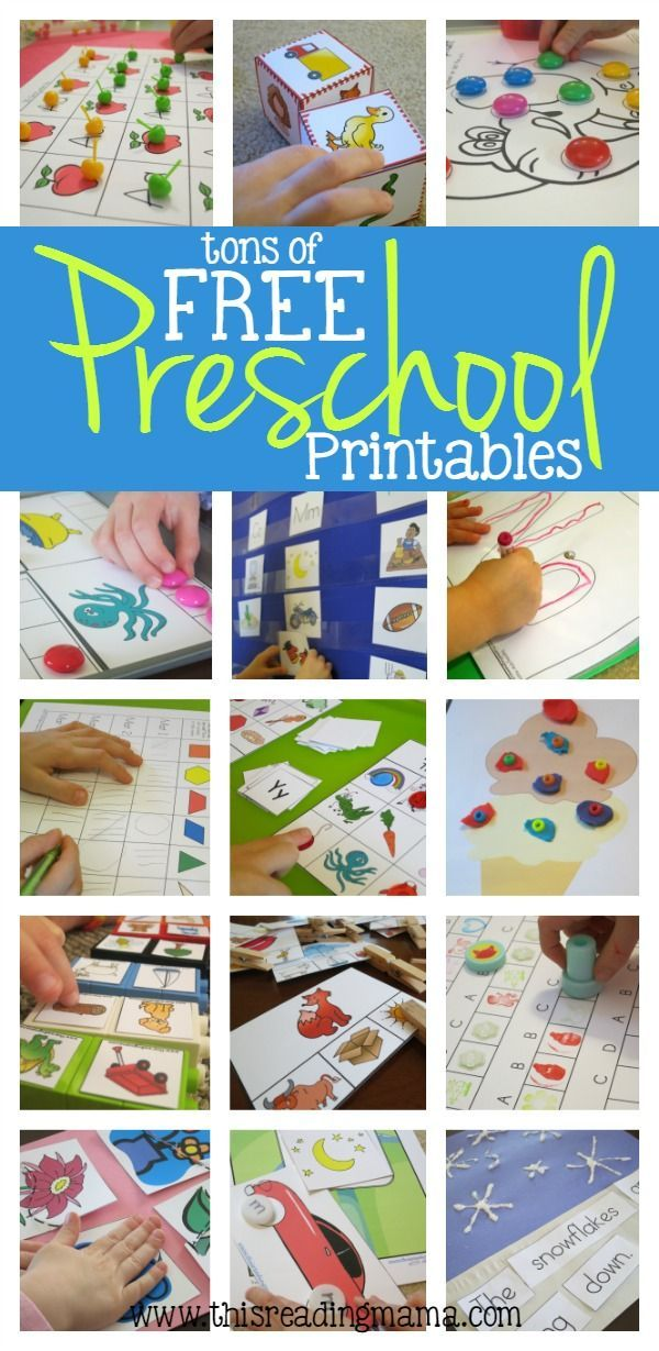 FREE Preschool Printables ~ tons of preschool math games, fine motor activities, ABC games and more.
