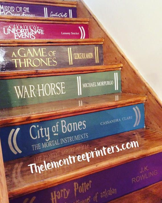 You choose your own books!! You paint your risers! I supply the writting:) At just £6 per stair! You choose the books! I make the decals! You paint your stairs! Take up your carpets, sand your stairs, use tester pots of paint on each stair and wood floor varnish for the treads! :)
