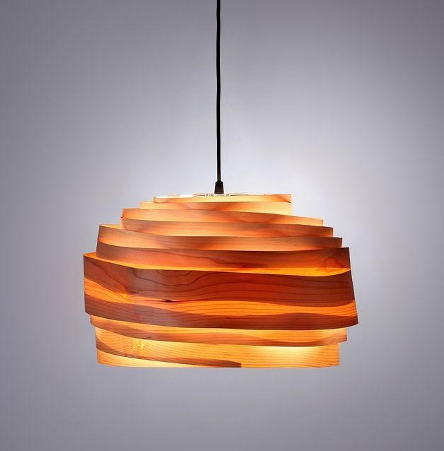 """Hängelampen - Lampenschirm aus Furnier """"Leicht bewölkt&q... - ein Designerstück von StudioVayehi bei DaWanda"""