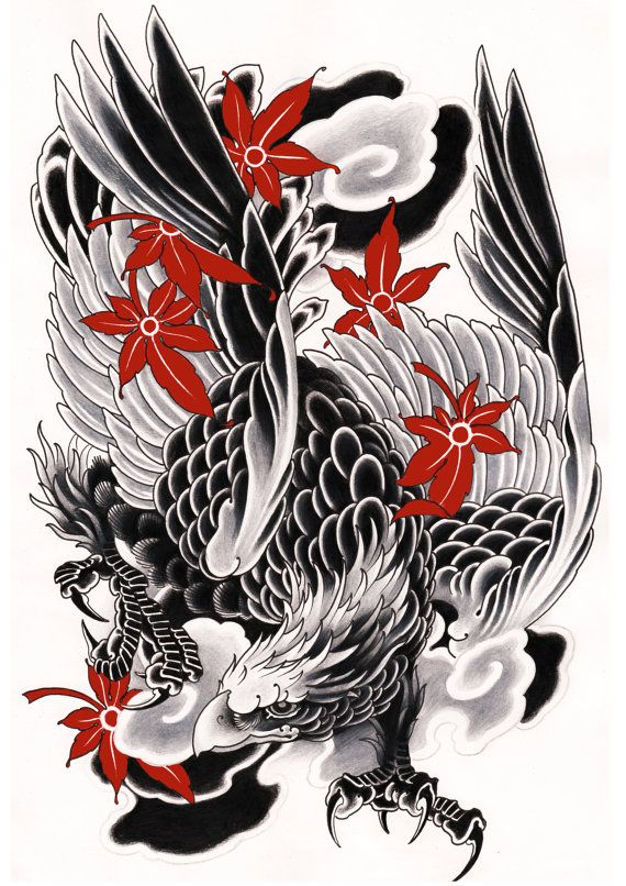 Japanese Eagle Print, Exclusive Design, Black and White, Red, Original Drawing, High Quality, Tattoo Art, Bird, Japanese Design