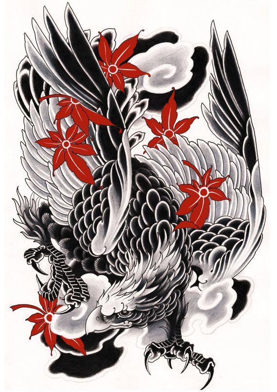Japonés Eagle Print diseño exclusivo negro y blanco por PielDeLobo