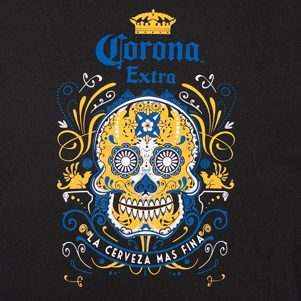 Buy the Corona Sugar Skull Cerveza Mas Fina T Shirt. $5.99 flat rate shipping for U.S. orders. Items ship within 24 hours.