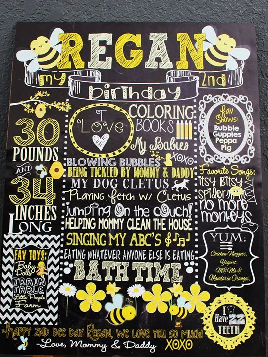 Little Bumble Bee Birthday Chalkboard Bumblebee Themed Party Decoration Day Happy Custom