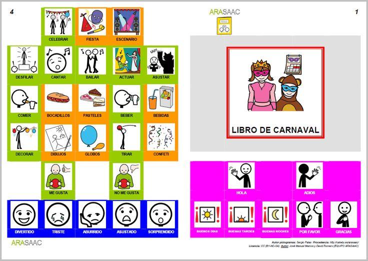 Libro de comunicación aumentativa y alternativa sobre el Carnaval. Autores: J. M. Marcos y D. Romero. Pictogramas ARASAAC, elaborados por Sergio Palao.