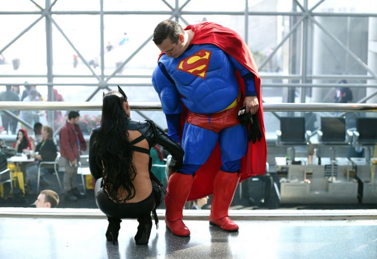 Fans in costumes arrive for the opening session of the 2015 New York Comic Con at the Jacob Javits Center. The four-day event which runs is the largest pop culture event on the East Coast of America