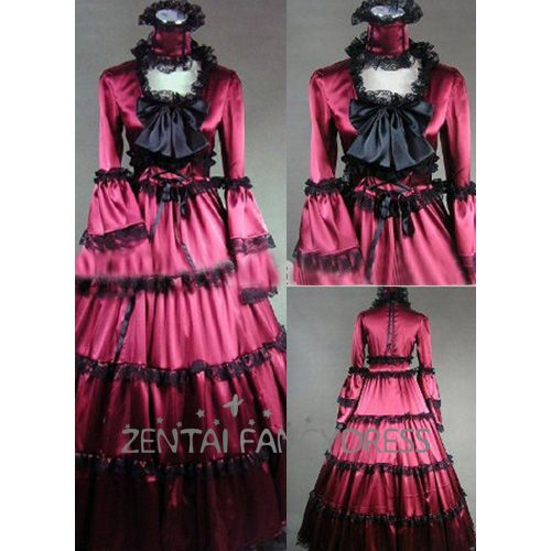 Red And Black Round Neck Multi Lace Ruffles Victorian Lolita Dress Long Sleeves