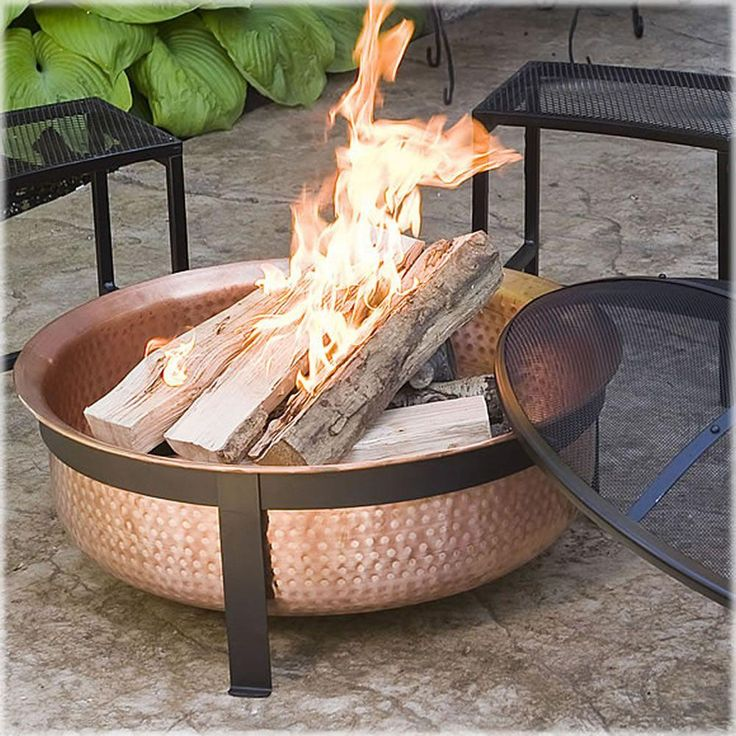 This hand-hammered, 100% copper fire pit tub sits on a sturdy wrought iron stand. With the extra depth of this exquisite fire bowl, you will be able to enjoy bigger fires that can actually last the length of your party. A free screen and vinyl protective outdoor cover are included to help protect the beauty of this fire pit.