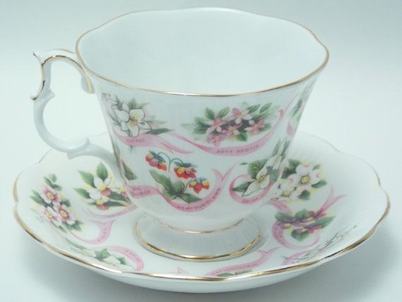 Royal Albert Our Emblems Dear Canadian Flag Provincial Flowers Canada Vintage Fine Bone China Tea Cup and Saucer Made in England