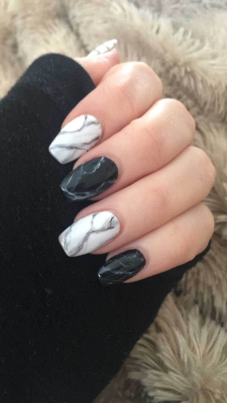 Black And White Marble Nails Marble Acrylic Nails