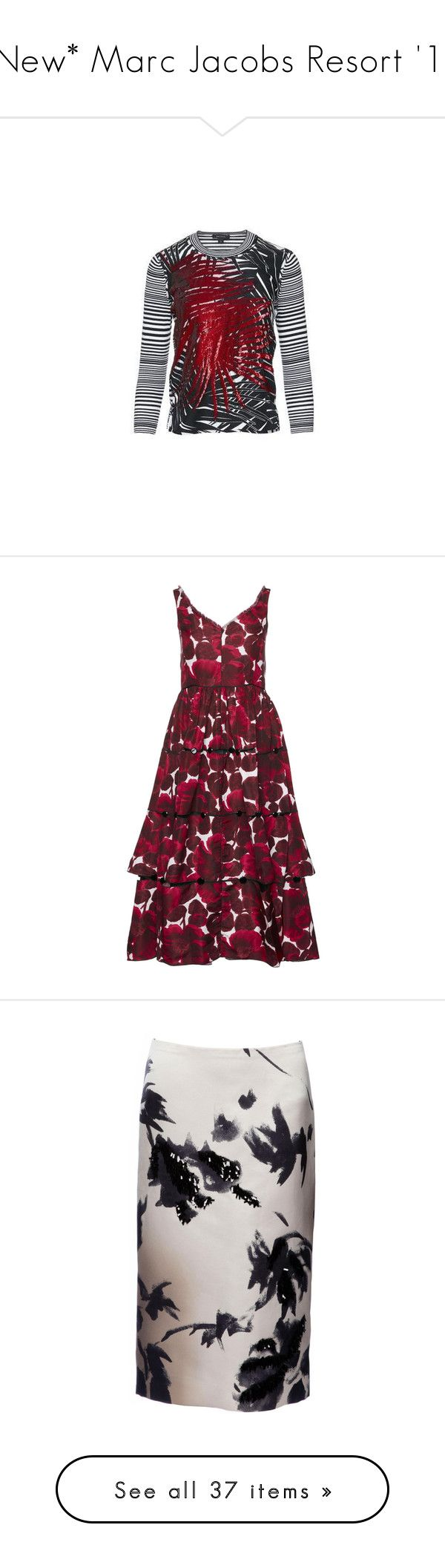 """""""*New* Marc Jacobs Resort '16"""" by marcjacobs ❤ liked on Polyvore featuring dresses, print dress, red sequin dress, red dress, wet look dress, polka dot dress, skirts, sequin pencil skirt, floral print skirt and floral knee length skirt"""
