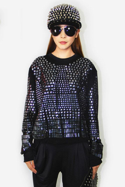 Punk Metal Rivets Pullover in Black [DLN0149] - PersunMall.com