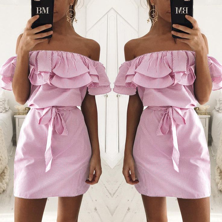 Summer Women Sexy Fashion Dresses Straight Striped Ruffles Mini Butterfly Sleeve Slash Neck S-XL Size Dress