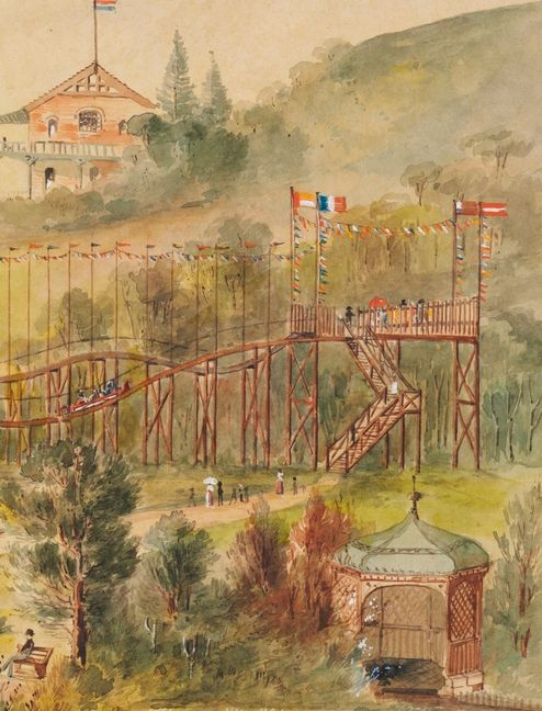 (detail)  pleasure park, at Tamarama, ca. 1880 painting by C.G. Coulter