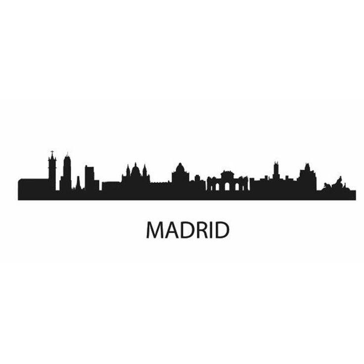 MADRID City Decal Landmark Skyline Wall Stickers Sketch Decals Poster Parede Home Decor Sticker