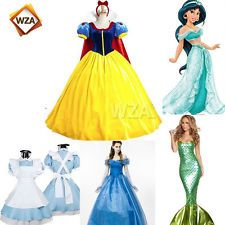 Adult Disney Princess Snow White Dresses Belle Cosplay Xmas Costume Party Dress