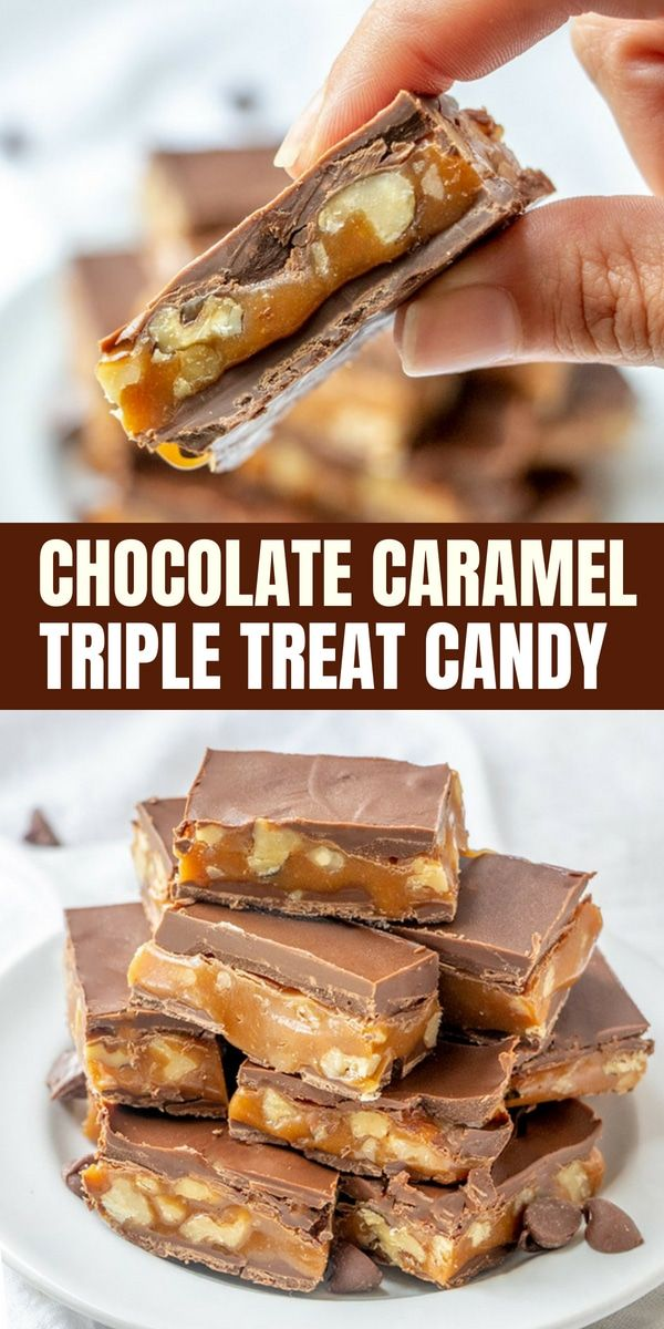 triple treat chocolate caramel candy bars recipe onion. Black Bedroom Furniture Sets. Home Design Ideas