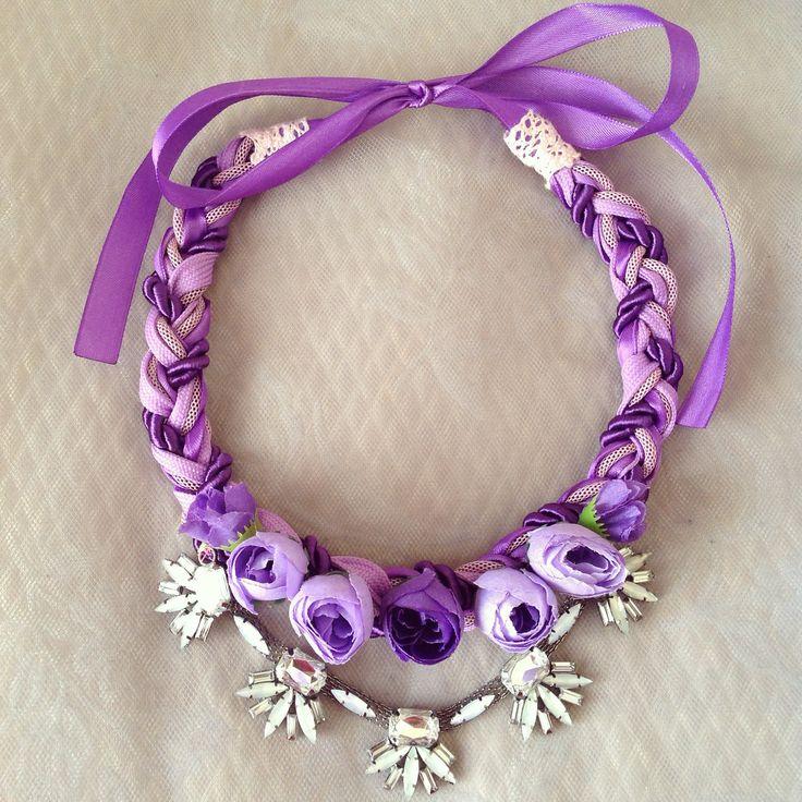 Lila handmade statement floral necklace by Szabo Ildiko