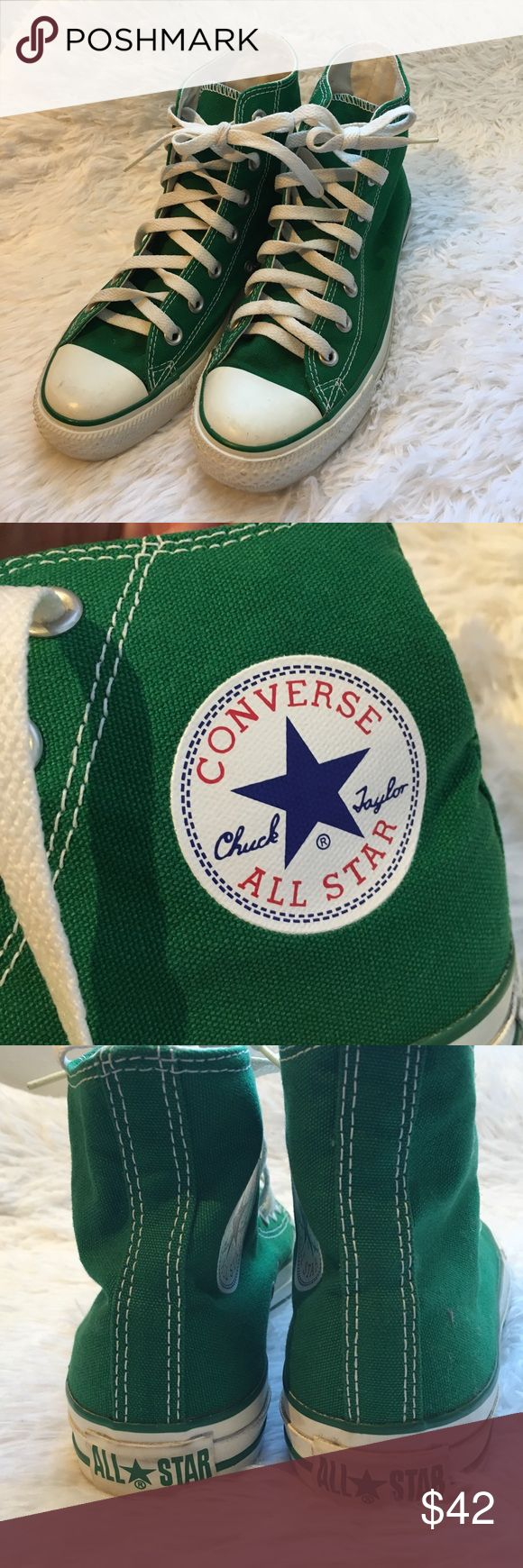 Converse High Tops in Green Converse high tops in green, excellent condition! No wear on bottom. Women size 7 Men's size 5 Converse Shoes Athletic Shoes