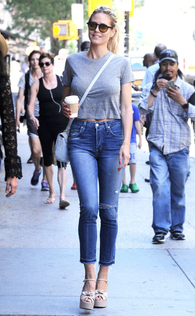 Heidi Klum from Stylish Celeb Coffee Runs  Cropped denim and platforms? How every coffee run should be done.