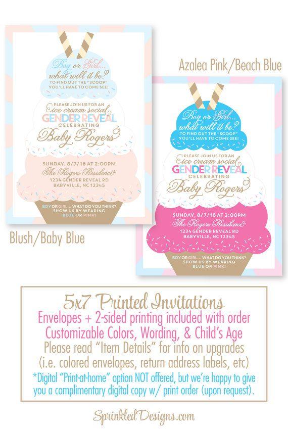 Ice Cream Social Gender enthüllen Einladung – gedruckte Einladungen – Blush Pink Baby Bl …   – He or She … What will it be??