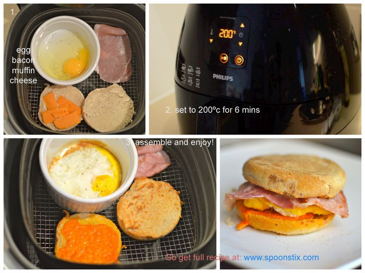 Easy breakfast sandwich (bacon, egg, cheese) in 7 minutes with Phillips Airfryer!   Click to get detailed recipe/video: http://www.spoonstix.com