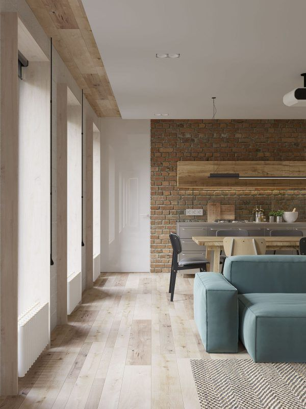 White walls and exposed brick go minimalist in this couples retreat interior design ideas minimalist bricks and exposed brick