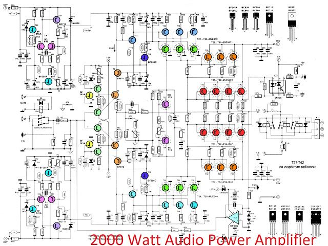 2000W high power amplifier 2SC5359 2SA1987