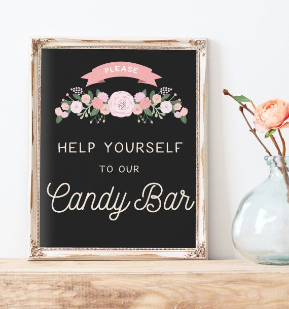 Rustic Wedding Candy Bar Sign Printable - Wedding Candy Table Sign - The Cady Sign Set