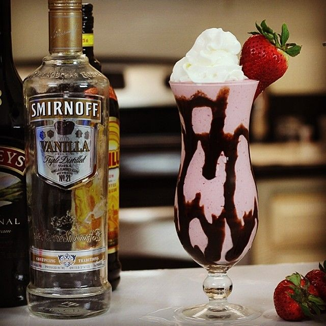Just posted to YouTube: STRAWBERRY MUDSLIDE 3/4 oz. (22ml) Vanilla Vodka 3/4 oz. (22ml) Baileys Irish Cream 3/4 oz. (22ml) Kahlua Vanilla Ice Cream Chocolate Syrup Strawberries #vodka #cocktail...