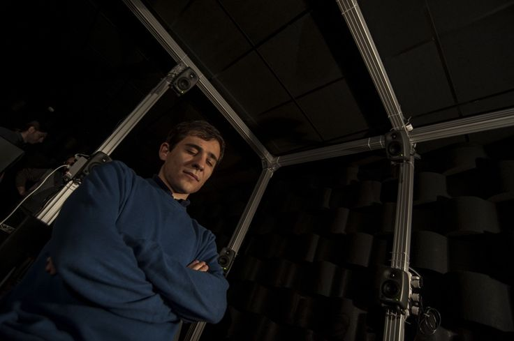 Acoustic session inside the semianechoic chamber.