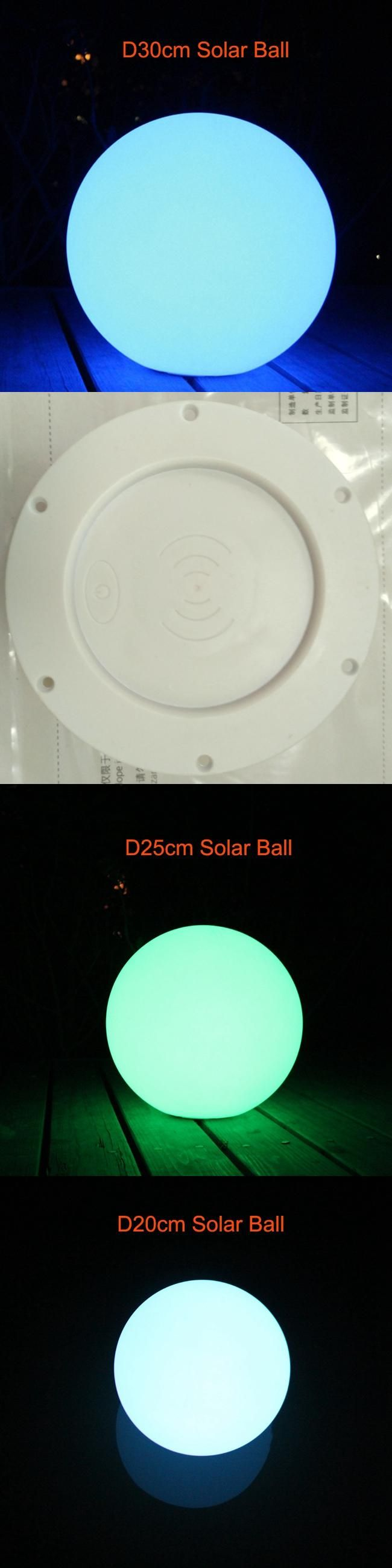 2017 New D20cm D25cm D30cm LED Solar Lamp Ball Waterproof Solar Spot Lights Outdoor RGBW 16 Color Change for Christmas Decor 1pc
