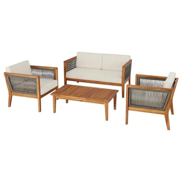 Hampton Bay Willow Glen Farmhouse 4 Piece Wood Patio Conversation Set With Teak Finish And Beige Cushions 8188 In 2020 Beige Cushions Wood Patio Conversation Set Patio