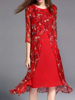 Simple Floral-print Half Sleeve Midi Dress