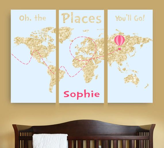 19 best kids room and nursery images on pinterest nursery gold world map nursery print dr seuss map art pink and gold nursery decor personalized sciox Choice Image