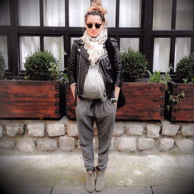Paris-  Maternity style fashion. Isabel Marant everything , Schott biker 32 weeks preggers 8 months pregnant.