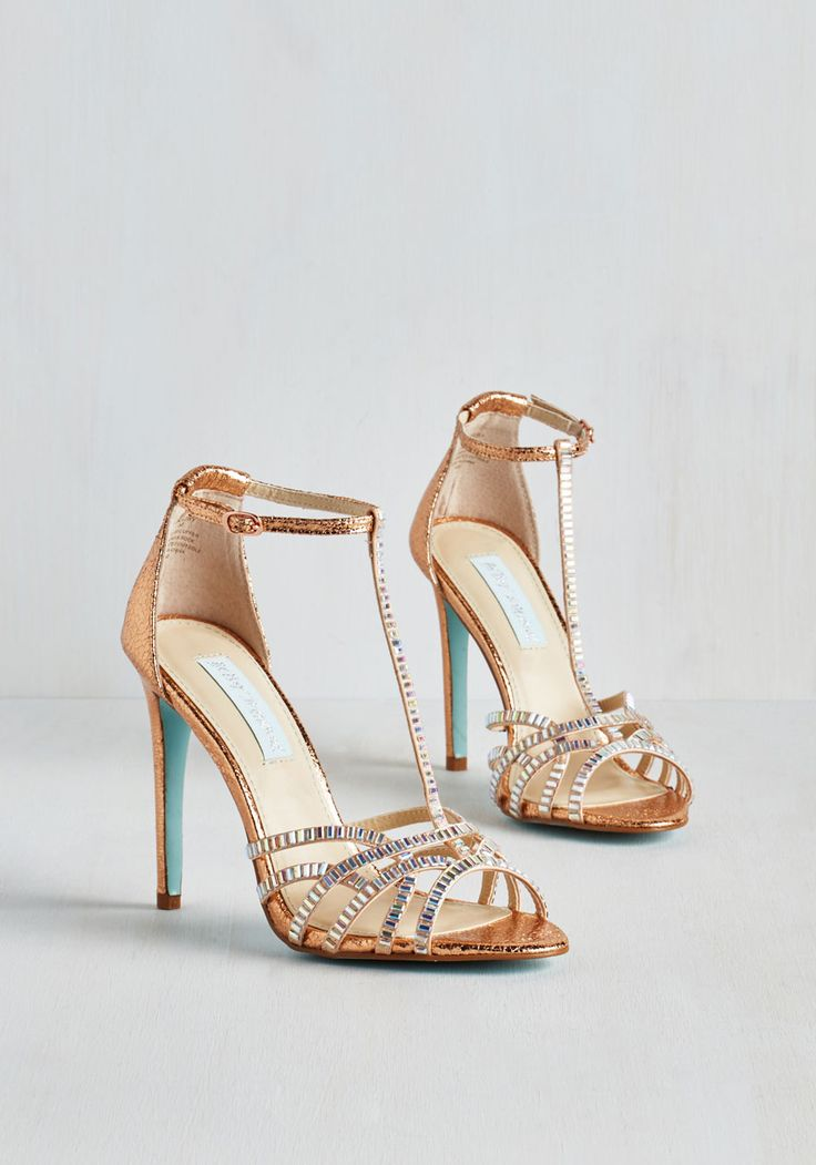 It's Never Too Scintillate Heel in Copper by Betsey Johnson - Gold, Solid, Rhinestones, Special Occasion, Prom, Party, Cocktail, Girls Night Out, Luxe, High, Best, T-Strap, Faux Leather, Wedding, Bride