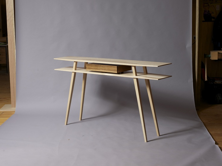Sam James Designed Fine Furniture Maker and Designer. Ash and Zebra Wood, Hall Table. 1650mm w x 300mm d x 900mm h