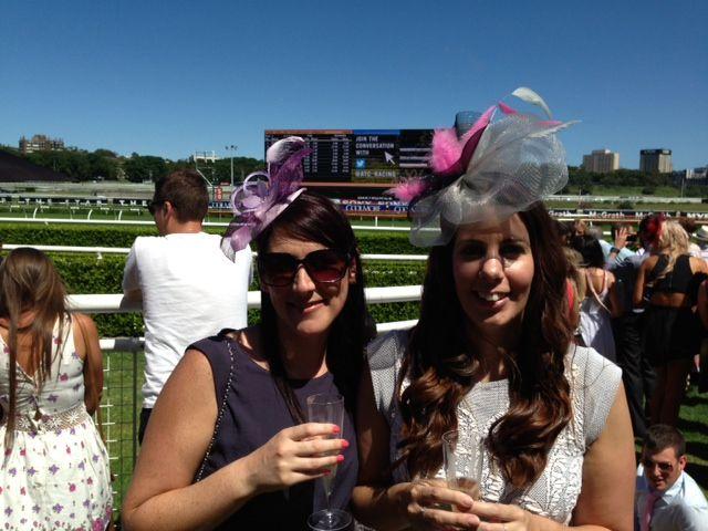 Wearing fascinators by Julie at Royal Randwick races. www.fascinatorsbyjulie.com.au