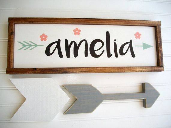 Name Sign .Baby Girl . Boho Tribal Arrow . Coral by RessieLillian