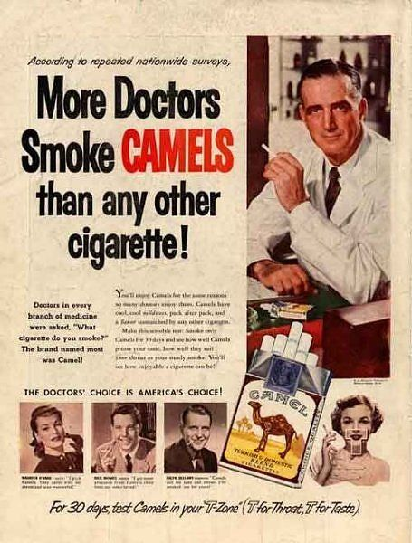 'More Doctors Smoke Camels than any Other Cigarette!' from 13 Most Evil Vintage Ads in History