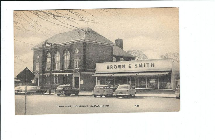 Hopkinton, MA Postcard Town Hall and Brown & Smith Store | eBay