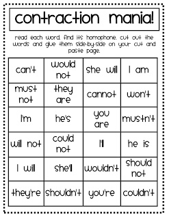 Worksheet Contraction Worksheets For First Grade 1000 images about contractions on pinterest a well anchor compound words homophones syllables etc printables cut and paste