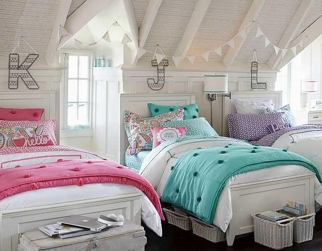 Яркие комнаты для девочек от PB Teen