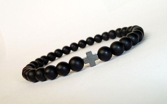 Men's BLACK Bracelet Cross //Matte Onyx, Hematite // Handcrafted Gemstone Bracelet //  Men's Mala Bracelet, Mala Beads Bracelet,gift for him